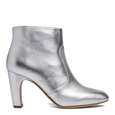 L K Bennett Metallic Silver Leather Antonia Ankle Boots
