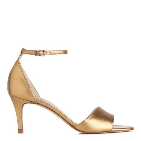 L K Bennett Metallic Bronze Leather Omya Heeled Sandals