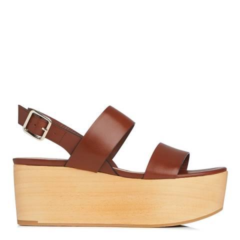L K Bennett Brown Dark Saddle Leather Colleen Flatform Sandals