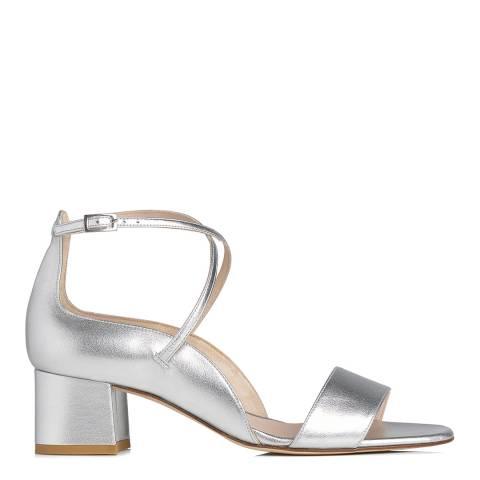 L K Bennett Metallic Silver Leather Dina Formal Sandals