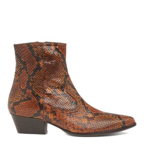 L K Bennett Brown Snake Leather Choral Ankle Boots