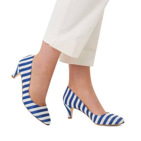 L K Bennett Blue & White Striped Helga Closed Courts