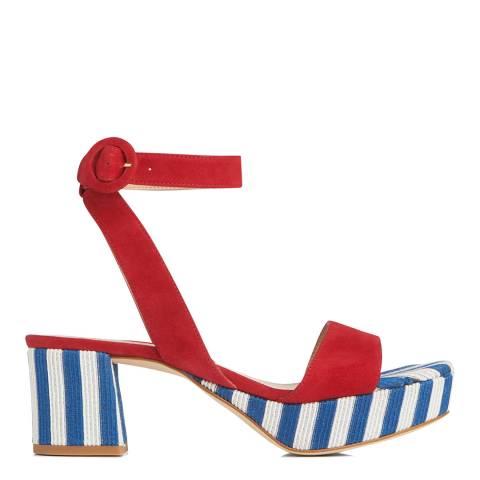 L K Bennett Blue & White Alie Suede Formal Sandals