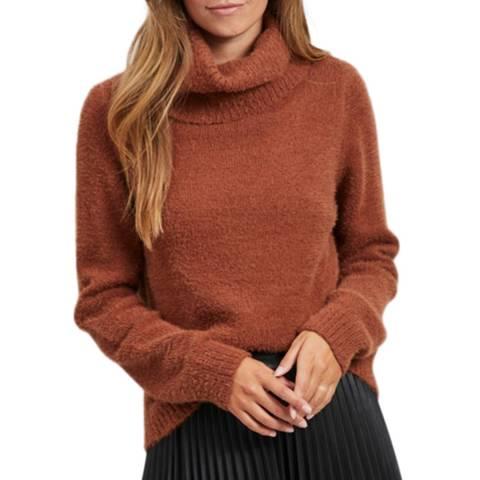 VILA Burnt Orange Loose Fit Roll Neck Knit Top