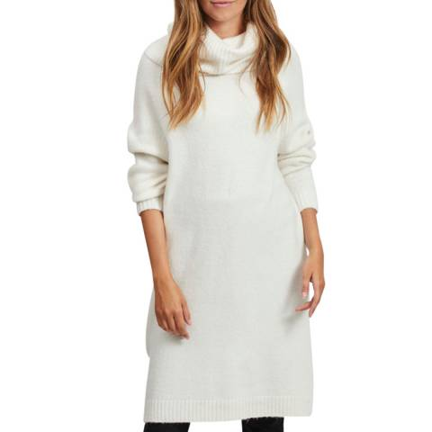 VILA Whisper White Cowl Neck Knitted Dress