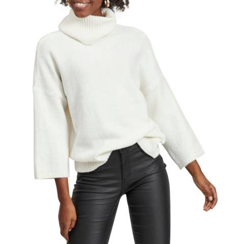VILA Whisper White Roll Neck Knit Top
