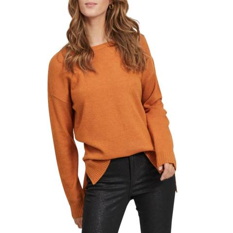 VILA Pumpkin Spice High Low Knit Top