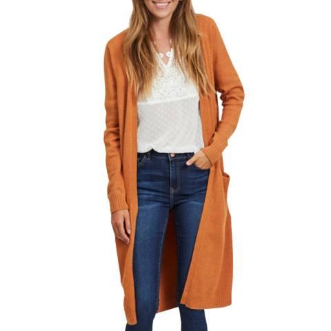 VILA Pumpkin Spice Long Knit Cardigan