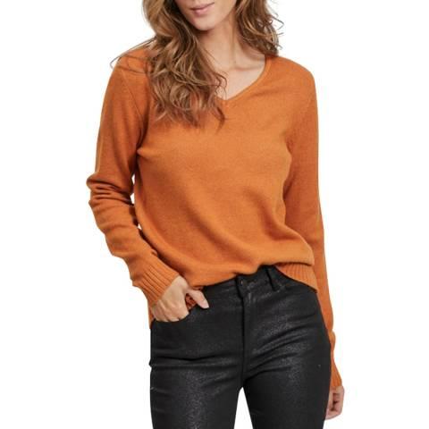 VILA Pumpkin Spice V-Neck Knit Top