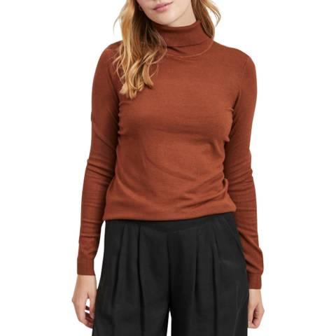 VILA Burnt Orange High Neck Knit Top
