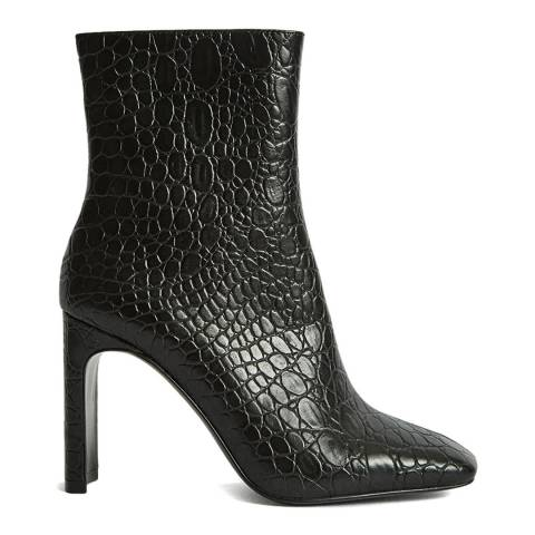 Reiss Black Vogue Embossed Leather Ankle Boots