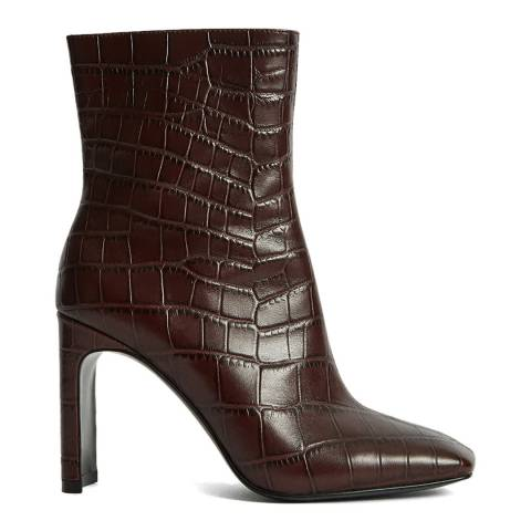 Reiss Plum Vogue Embossed Leather Ankle Boots