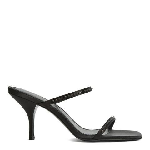 Reiss Black Magda Crystal Heeled Sandals