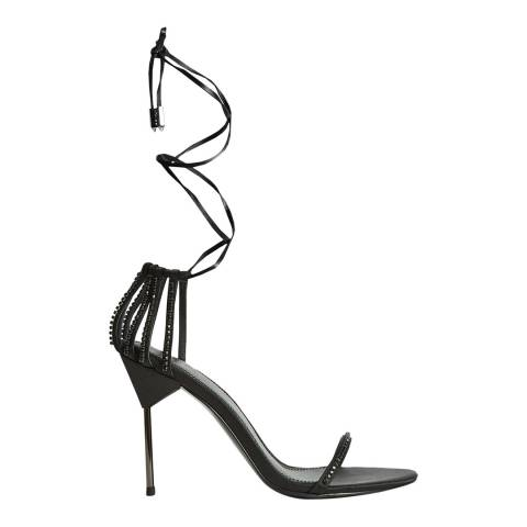 Reiss Black Zhane Crystal Strappy Leather Heels