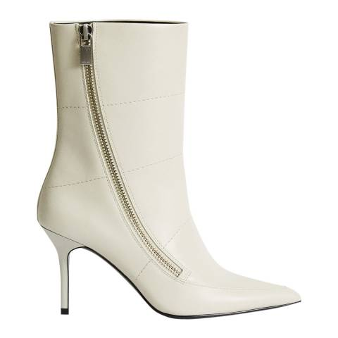 Reiss Off White Hoxton Mid Calf Leather Boots
