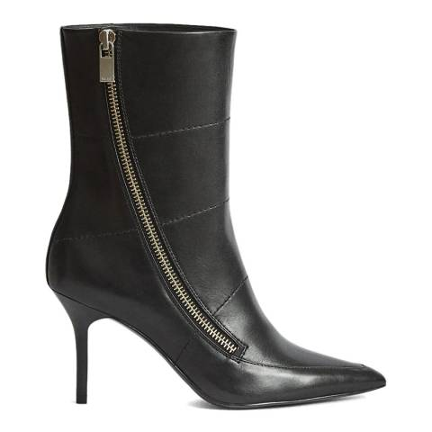 Reiss Black Hoxton Mid Calf Leather Boots