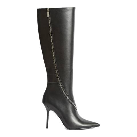 Reiss Black Hoxton Knee High Leather Boots