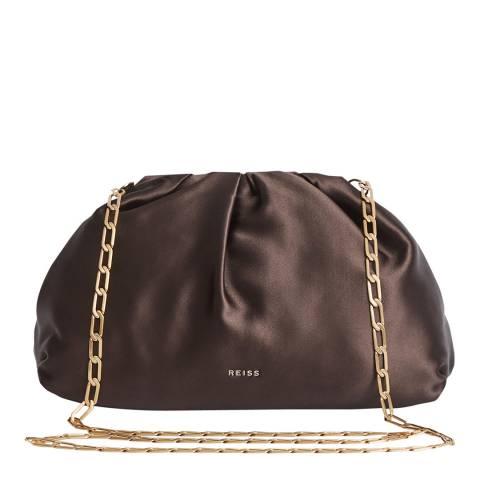 Reiss Brown Ellena Satin Pouch Bag