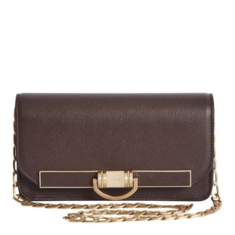 Reiss Brown Lexi Grainy Leather Bag