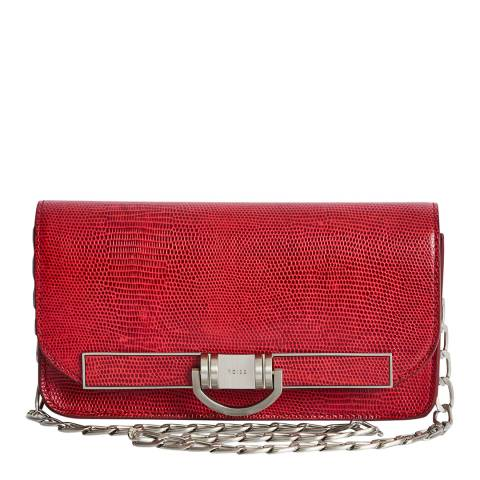 Reiss Red Lexi Embossed Leather Bag