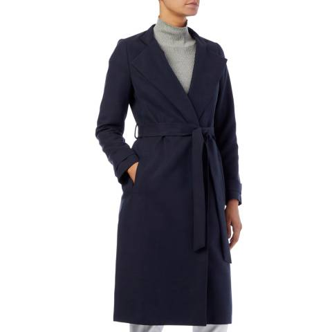 Reiss Navy Katja Belt Cotton Blend Coat