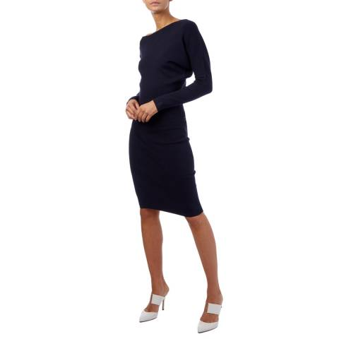 Reiss Navy Claudia Knitted Dress