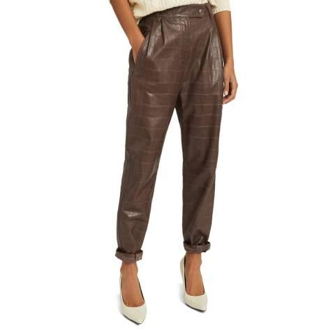 Reiss Mushroom Oskia Leather Trousers