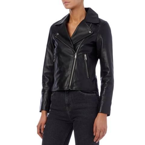 Reiss Black Geo Leather Biker Jacket