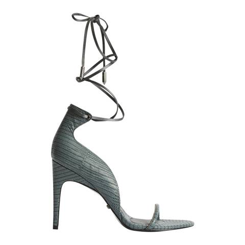 Reiss Grey Coco Strappy Leather Heels