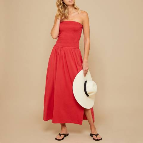 N°· Eleven Red Jersey Smock Maxi Dress