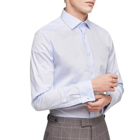 Reiss Soft Blue Detroller Spread Slim Cotton Shirt