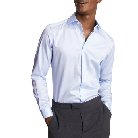 Reiss Light Blue Remote Slim Cotton Shirt