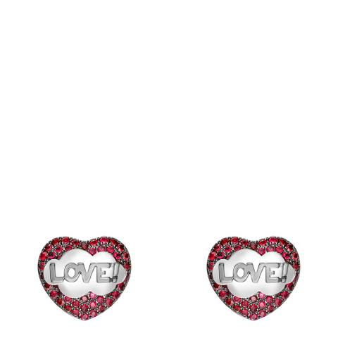 Theo Fennell 18ct White Gold Ruby LOVE! Pop Art Stud Earrings
