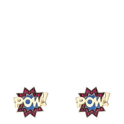 Theo Fennell 18ct Yellow Gold Ruby Enamel POW! Pop Art Stud Earrings