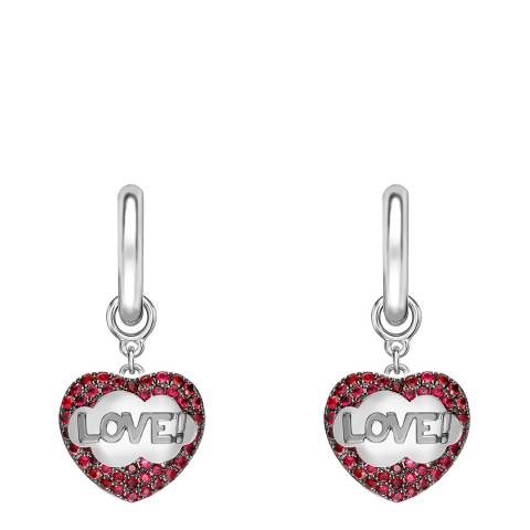 Theo Fennell 18ct White Gold Ruby LOVE! Pop Art Drop Hoop Earrings