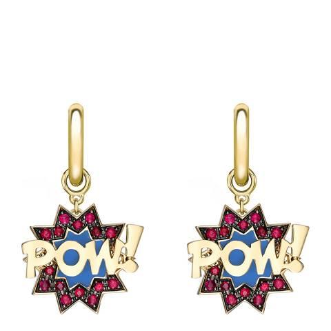 Theo Fennell 18ct Yellow Gold Ruby POW! Pop Art Drop Hoop Earrings