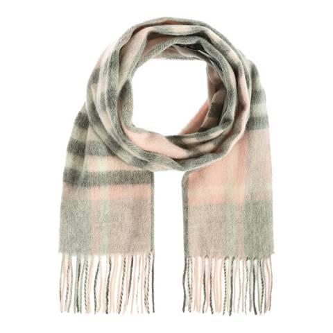 Edinburgh Lambswool Light Pink Grey Chequer Tartan Lambswool Scarf
