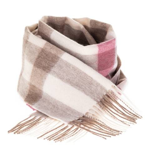 Edinburgh Lambswool Pink Taupe Giant Chequer Lambswool Scarf