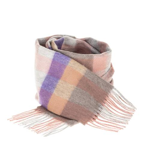 Edinburgh Lambswool Dark Pink and Purple Giatn Chequer Lambswool Scarf
