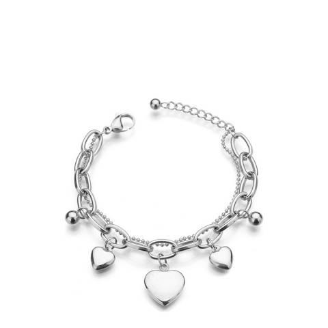 Liv Oliver Silver Plated Heart Charm Bracelet