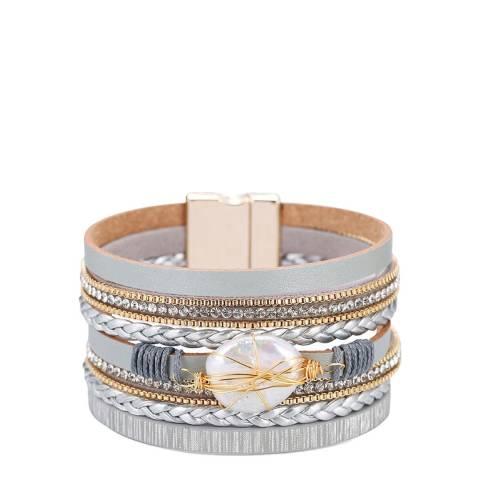 Liv Oliver 18K Gold Plated Grey Leather Pearl Bracelet