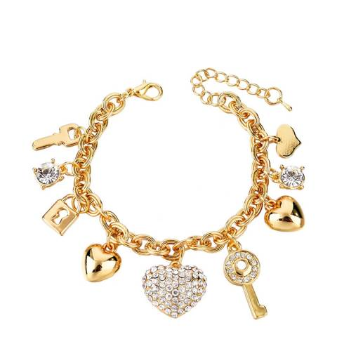 Liv Oliver 18K Gold Plated Multi Charm Love Bracelet
