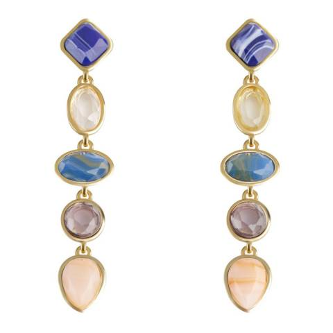 Liv Oliver 18K Gold Plated Multi Stone Drop Earrings