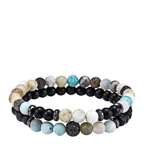 Stephen Oliver Multi Blue Gemstone & Onyx Bracelet Set