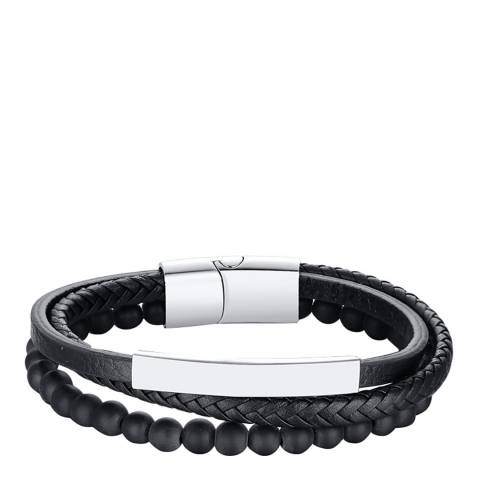Stephen Oliver Silver Plated Multi Row Leather & Onyx Bracelet
