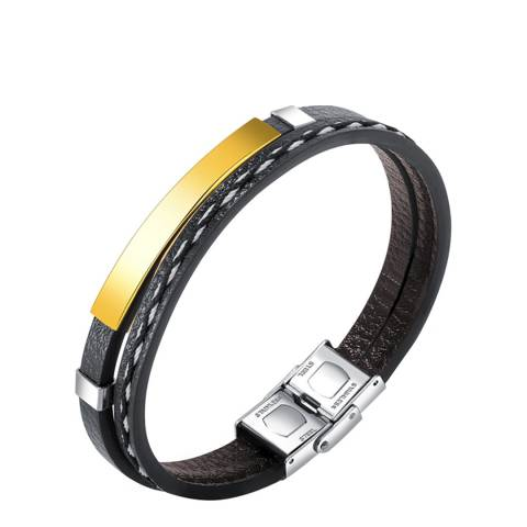 Stephen Oliver 18K Gold Plated/Silver Plated Leather ID Bracelet