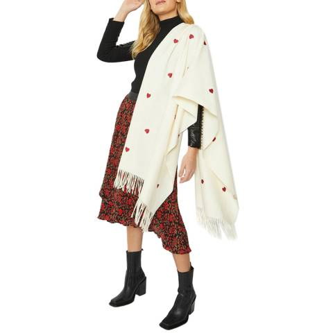 JayLey Collection Ivory Heart Cashmere Blend Wrap
