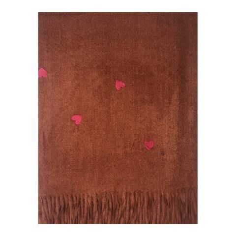 JayLey Collection Burgundy Heart Cashmere Blend Wrap
