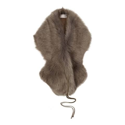 Gushlow & Cole Taupe Shearling Shawl Scarf