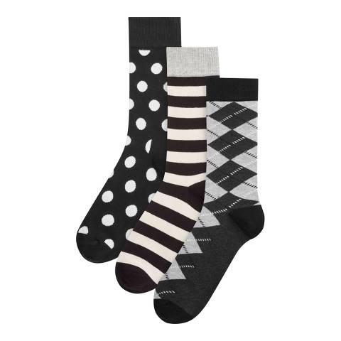 Happy Socks Black/White/Grey 3 Pack Gift Set